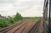 View east of Langloan Junction from a Whifflet - Glasgow Central DMU in 1998. The line to the left runs to Coatbridge Central.<br><br>[Ewan Crawford&nbsp;//1998]