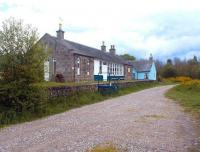 The old station at Nethy Bridge in May 2002 looking south along the Strathspey route towards Aviemore. By this time the building had been converted for use as a bunkhouse.<br><br>[John Furnevel&nbsp;15/05/2002]