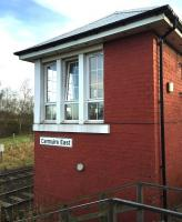 The refurbished signal box at Carmuirs East Junction in January 2016.<br><br>[Ross Wilson&nbsp;13/01/2016]