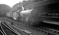 Stopping for a spell! B1 4-6-0 61019 stands alongside the platform at Newcastle Central with a freight in June 1963. The locomotive was delivered new to Heaton shed in February 1947 carrying the name <I>'Nilghai'</I>. Unfortunately, whichever book of antelope names was used by Darlington Works got this one wrong, as the correct spelling for the large Indian antelope is <I>'Nilgai'</I>, although in Asia it can sometimes be spelt <I>Nilgau</I>. Just to complicate matters, many of the Ian Allan locomotive listings of the 1950s and 60s used the spelling <I>'Nilghal'</I>.  <br><br>[K A Gray&nbsp;08/06/1963]