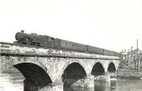 Fairburn tank 42195 crossing the River Ayr on 28 March 1959 with a train from Glasgow.<br><br>[G H Robin collection by courtesy of the Mitchell Library, Glasgow&nbsp;28/03/1959]