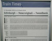 A few Borders trains run from Fife in the morning and to it in the evening. These services however don't share a public timetable and it seems to me an odd decision to post timetables at stations which aren't mentioned on them. This example is seen at Dalmeny in January 2016.<br><br>[David Panton&nbsp;19/01/2016]