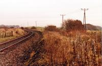 Fairlie Junction looking east, 17 November, 1985. The hut visible was in the vee of the junction and taller tree/bush on the right is on the Fairlie Branch trackbed.<br><br>[Robert Blane&nbsp;17/11/1985]