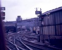 On board a departure from Kings Cross on 28 July 1967 looking back towards the buffers. In the background on the skyline can be seen St Pancras.<br><br>[John McIntyre&nbsp;28/07/1967]