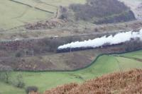 Black 5s 44871 and 45407 head the return Winter Cumbrian Mountain Express railtour south through the Lune Gorge on 23 January 2016. This was supposed to have been the inaugural mainline working of Flying Scotsman but a few jobs are still to be completed before the loco is ready and the IR Black 5s were substituted. IR in this case is Ian Riley not International Rescue although the Black 5s do perform an admirable Thunderbird role.<br><br>[John McIntyre&nbsp;23/01/2016]