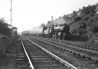 A Singer - Springburn workmen's train passing Knightswood North Junction on 24 May 1957 behind Ivatt 2-6-0 43135.<br><br>[G H Robin collection by courtesy of the Mitchell Library, Glasgow&nbsp;24/05/1957]
