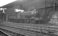J27 0-6-0 65852 photographed alongside the Heaton coaling stage, probably in the autumn of 1962. The 1908 NER veteran was finally withdrawn from North Blyth at the end of 1963 and cut up at Darlington Works shortly thereafter. <br><br>[K A Gray&nbsp;//1962]