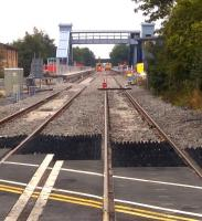 Another shot [see image 52322] of work in progress at Bicester Town station in August 2015. The line has since re-opened, so it wouldn't be a good idea to try and repeat this shot; which looks East.<br><br>[Ken Strachan&nbsp;14/08/2015]