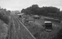 Looking west over Newburgh Station in 1971 with signalling renewals underway.  There are coal wagons in the goods yard on the right.<br><br>[Bill Roberton