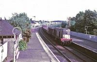 A goods hauled by EE Type 1 passes north through Carluke station in June 1967.<br><br>[Colin Miller&nbsp;/06/1967]
