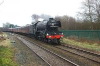 60103 <i>Flying Scotsman</i> approaches Lostock Hall on 4 February 2016 on a loaded test run from Carnforth. This was the locomotive's first outing on the main line since its lengthy overhaul. It was however the second run the engine had made, the first being a 'light' test from Carnforth to Hellifield, before this trip from Carnforth to Hellifield, Blackburn, Preston and back via the WCML.<br><br>[John McIntyre&nbsp;04/02/2016]