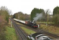 Ivatt LMS 2-6-0 46521 approaching Quorn and Woodhouse with the <I>Windcutter</I> mineral wagons on 29 January 2016.<br><br> Given the erratic weather, the best place to catch some sun - albeit late afternoon.<br><br>[Peter Todd&nbsp;29/01/2016]