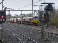 DBS 66104 and 66102 near Cardonald with a very long Didcot - Mossend car train, diverted off the WCML.<br><br>[Bill Roberton
