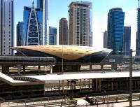 The Dubai Metro Red Line station at Jumeira Lake Towers in February 2016. The station opened in 2010. <br><br>[Ross Wilson&nbsp;02/02/2016]