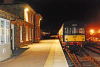 Nighttime view of DMU 101678 at Leeming Bar on the Wensleydale Railway in 2008. The level crossing is behind the camera.<br><br>[Ewan Crawford&nbsp;30/03/2008]