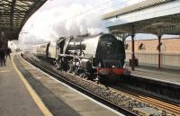 46233 <I>Duchess of Sutherland</I> takes the Cumbrian Mountain Express through Penrith on 30th January 2016. It was scheduled to repeat the trip the following week but 60103 made its inaugural run instead.  <br><br>[Mark Bartlett&nbsp;30/01/2016]