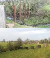 These tank traps, presumably around 75 years old, sit alongside the Lancaster Canal near Nateby Hall. The upper picture shows the point where the trap crosses a stream and old rails are embedded upright to maintain the defence. Either side of the stream are the concrete blocks that climb up the hill and the last block is actually on the towpath of the canal. Behind the camera in the lower picture there is also a well preserved lime kiln from the days when lime was brought by canal from Kendal for use on local fields. Map Ref SD475461. <br><br>[Mark Bartlett&nbsp;13/02/2016]