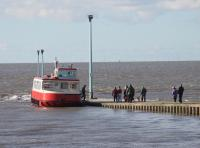 The Wyre Rose, disembarking at the Knott End slipway after crossing from Fleetwood on 14th February 2016. Depending on the state of the tide passengers from Knott End either have a long walk and short boat ride or vice versa. The vessel, purpose built, has operated the ferry since 2005 but there is a cloud over operations at present due to county council cut backs. <br><br>[Mark Bartlett&nbsp;14/02/2016]