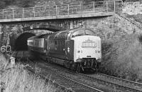 The 1400 Edinburgh - Kings Cross hauled by 9001 <I>St Paddy</I> shortly after leaving Penmanshiel Tunnel on 6 October 1969. The east portal of the tunnel can be seen in the background and the bridge carrying the old A1 crosses the line.<br><br>[Dougie Squance (Courtesy Bruce McCartney)&nbsp;06/10/1969]