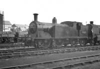 Drummond M7 0-4-4T 30021 stabled in the shed yard at Exmouth Junction on 19 August 1961.<br><br>[K A Gray&nbsp;19/08/1961]