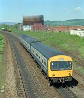 101.347, with inaccurate destination blind, heads south from Stirling past the site of Stirling shed, then in use as sidings south of the goods yard.<br><br>[Ewan Crawford&nbsp;//1989]