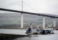 The Erskine Ferry in 1971 with its replacement looming above.<br><br>[Colin Miller&nbsp;//1971]
