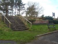 The rather grand stairway leading up to the southbound platform at Ravenscar is perhaps a reflection of the proposed quality of the holiday resort that was envisaged for the locality and is in accord with the grandeur of the former station hotel off picture to the right.<br><br>[David Pesterfield&nbsp;14/02/2016]