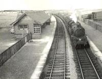 BR Standard class 4 2-6-4T 80113 reaches the end of its journey as it runs into Uplawmoor station on 11 July 1956 with the 5.42pm train from Glasgow Central. <br><br>[G H Robin collection by courtesy of the Mitchell Library, Glasgow&nbsp;11/07/1956]