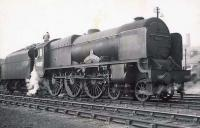 Unrebuilt Royal Scot 46137 <I>The Prince of Wales's Volunteers (South Lancashire)</I> on shed at Polmadie in the summer of 1949. <br><br>[G H Robin collection by courtesy of the Mitchell Library, Glasgow&nbsp;09/07/1949]