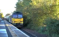 Colas Railfreight 60087 with 6B01, Grangemouth to Riccarton Oil Terminal through Kilmaurs on 12 September 2015.<br><br>[Ken Browne&nbsp;12/09/2015]