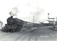 Black 5 no 45007 is about to leave Ardrossan Winton Pier on 6 July 1959 with a boat express for Glasgow St Enoch. <br><br>[G H Robin collection by courtesy of the Mitchell Library, Glasgow&nbsp;/07/1959]