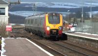 An unidentified Virgin Voyager with the diverted 1Z05 Glasgow Central to Carlisle shuttle through New Cumnock on 18 February 2016. This service operated during the WCML closure due to damage at Lamington Viaduct and called only at Kilmarnock.<br><br>[Ken Browne&nbsp;18/02/2016]