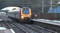 Virgin Voyager 221102 slows for signals at New Cumnock on 18 February whilst working 1Z00 the shuttle from Carlisle to Glasgow Central.<br><br>[Ken Browne&nbsp;18/02/2016]