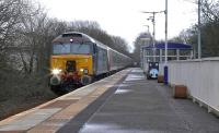 DRS class 57 no 57302 drags Pendolino 390152 through Kilmaurs on 7 February 2016 on its way from Edge Hill to Polmadie CAR Depot.  <br><br>[Ken Browne&nbsp;07/02/2016]