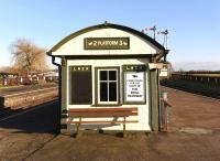 An LNER (GCR) waiting room stands on the platform at the original GCR Quainton Road station and houses a small exhibition about the Brill Tramway. Trains for Brill departed from this platform but the rural branch closed in 1935. <br> <br><br>[Peter Todd&nbsp;24/02/2016]