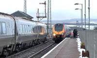 Virgin Voyager 221102 <I>John Cabot</I> pauses for signals at New Cumnock with the shuttle from Carlisle to Glasgow Central on 18 February 2016. Another Voyager approaches on the reverse working.<br><br>[Ken Browne&nbsp;18/02/2016]