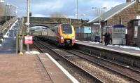 Virgin Voyager 221109 about to run through New Cumnock whilst working 1Z10, the shuttle from Carlisle to Glasgow Central, on 18 February 2016.<br><br>[Ken Browne&nbsp;18/02/2016]