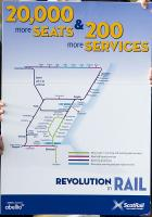 This poster went with the announcement of the 20,000 additional seats and 200 further services made on the 15th of March (see news item). To put this in perspective, ScotRail currently runs 2,300 services a day.<br><br> <br><br> (The fingers belong to Abellio UK managing director Dominic Booth, Transport Minister Derek Mackay and ScotRail Alliance managing director Phil Verster.)<br><br>[ScotRail&nbsp;15/03/2016]
