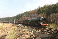 60103 'Flying Scotsman' approaching Levisham on the North Yorkshire Moors Railway on 12 March 2016.<br><br>[Peter Todd&nbsp;12/03/2016]