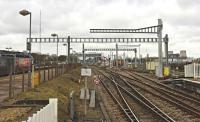 The new view west from Didcot station on 24 March 2016. Gantry erection for the GWML electrification project appears to be progressing well, despite the media!<br><br>[Peter Todd 24/03/2016]