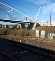 The new footbridge installed just west of Dundee station, viewed from a passing train.<br><br>[John Yellowlees&nbsp;01/03/2016]