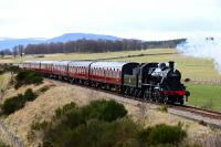 In an icy gale, Strathspey Railway Ivatt No.46512 is pictured just north of Fisherman's Crossing on the way to Broomhill.<br><br>[John Gray&nbsp;25/03/2016]