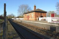 The southern terminus of the Battlefield Line Railway is at Shenton on the former LNWR & Midland Joint line between Coalville and Nuneaton. The station, seen here in March 2016, was closed by BR in 1968, but later resurrected by the heritage railway which takes it's name from the battle of Bosworth Field, the final battle of the Wars of the Roses. [Ref query 42512]<br><br>[John McIntyre&nbsp;07/03/2016]