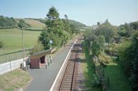 View east at Llanbister Road. The open platform formerly handled eastbound trains only. The disused westbound platform is to right.<br><br>[Ewan Crawford&nbsp;//2002]