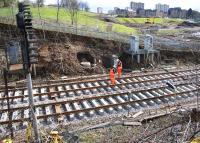 Track renewal taking place between the Queen Street High Level Tunnel and Cowlairs South Junction during the period of closure of Queen Street High level station.<br><br>[Colin McDonald&nbsp;29/03/2016]