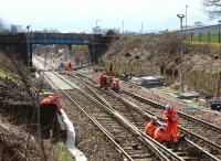 View south to the Fountainwells bridge as track renewal takes place during the period of closure of Queen Street High level.<br><br>[Colin McDonald&nbsp;29/03/2016]