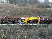 Redundant ballast being loaded onto works train.<br><br>[Martin MacGuire&nbsp;21/03/2016]