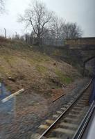 A view of the new junction between the line from the bay platform at Anniesland station and the Knightswood South Junction to Maryhill Park Junction chord. View looks to Anniesland.<br><br>[John Yellowlees&nbsp;23/03/2016]