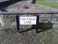 Novel little sign in Dumfries in the shadow of the closed Maxwelltown branch (formerly the Port Road) off the Nith Line. Tom Train refers to a certain tank engine.<br><br>[Brian Smith&nbsp;18/03/2016]