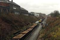 Busy works traffic on Cowlairs Incline - several PW trains stacked on the up main.<br><br>[Martin MacGuire&nbsp;01/04/2016]